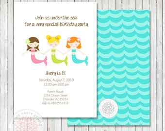 Mermaid Birthday Under the Sea Printable Birthday Invite - Petite Party Studio