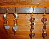 FREE XMAS SHIPPING Handmade Hypoallergenic Swarovski Crystal Earrings Gold Earrings Mauve Pink earrings Purple Crystal Dangle Earrings