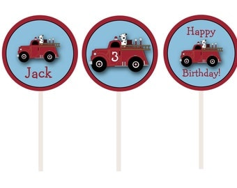 Fire truck cupcake toppers --  fire truck birthday party -- fireman party - firefighter birthday