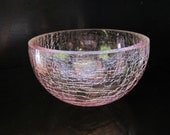 Pink Large Glass Crackle Bowl