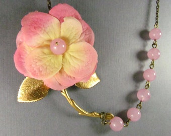 Pink Cream Ivory Fabric Silk Flower Bridal Necklace, Large Brass Branch, Leaf, Bridesmaid, Two Tone Necklace - 0085