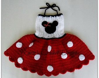 Minnie Mouse RED Polka Dots Crocheted Dress