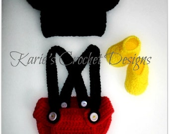 Mickey Mouse Ears Crocheted Baby Diaper Cover Set / Red / Diaper Cover w Adjustable Suspenders, Hat and Booties