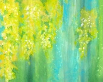 "ORIGINAL yellow flowers abstract painting-LABURNUM 18""x18"" yellow blue green"