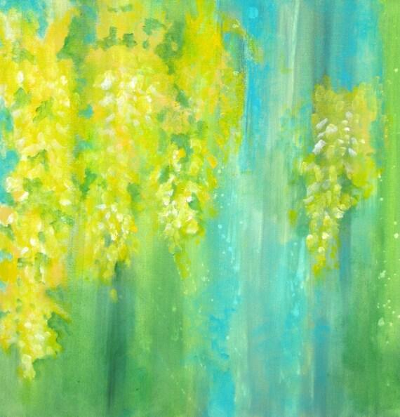 Original Yellow Flowers Abstract Painting Laburnum By