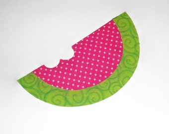 Iron On Fabric Applique Pink Swiss And Green Swirl WATERMELON SLICE With Bite