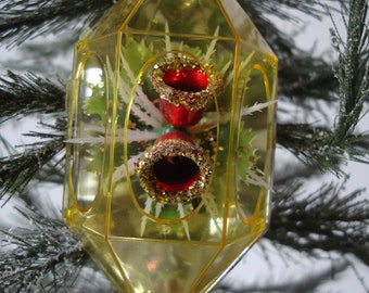Vintage Jewel Brite  Reflected Red Bells Christmas Plastic Christmas Ornament