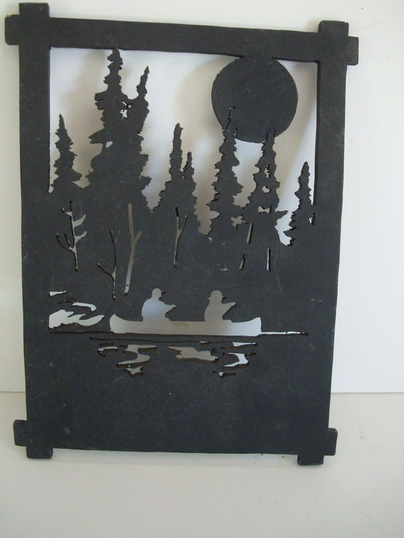 Vintage Silhouette Fishing Scene Wooden Shabby Chic or Tramp Art Scrolled Sawed