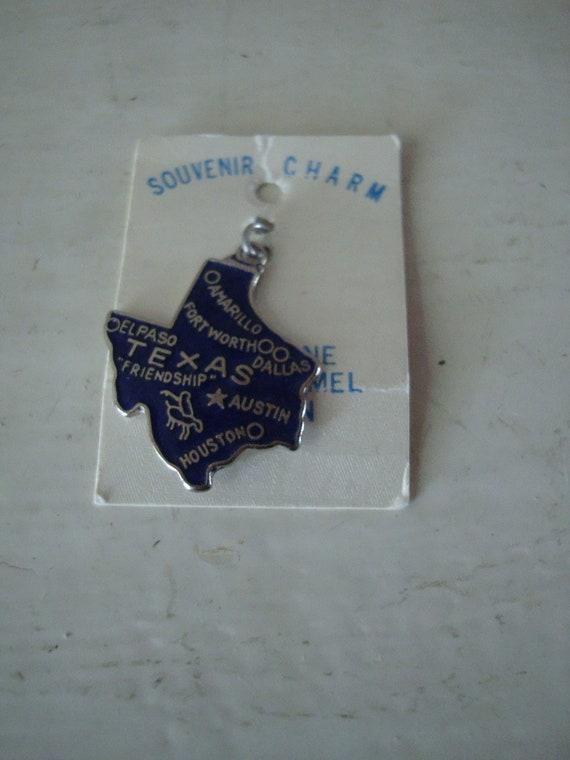 Vintage Texas Blue Enamel Charm  Sweet