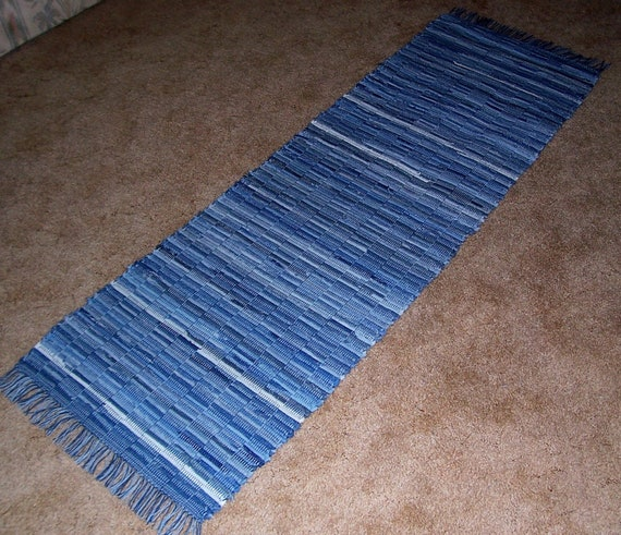 Loom Woven Denim Rag Rug 6 Ft X 19 In By BackPorchCountry