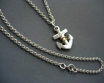 Silver and 9ct gold anchor pendant with chain