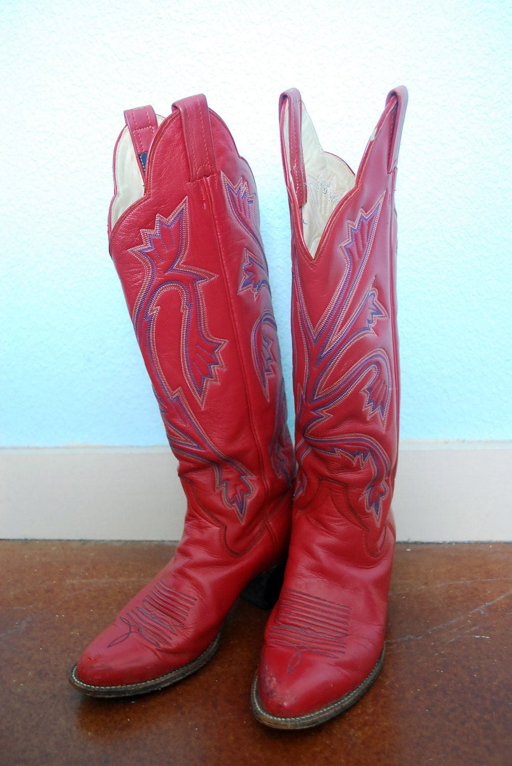 Vintage Red Leather Cowboy Boots Womens 6 5