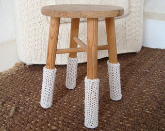 chunky knit cream leg warmers for chairs
