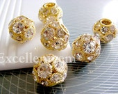 5-10 pcs disco ball beads Gold plated Brass with clear Czech crystal Rhinestone beads (18mm)