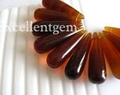 Earring teardrops10 glass quartz Smooth Teardrop in Dark Amber color 35x10mm