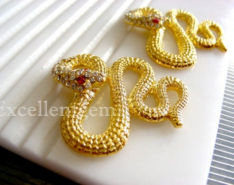 2pcs-Snake - gold plated crystal rhinestone bracelet connector,jewelry making