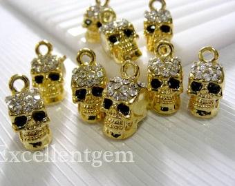 5-10 Rhinestone Skull charms Gold tone with Crystal Rhinestones charm