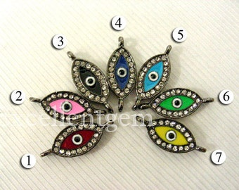 SALE 30% OFF --15pcs - Jet tone with Crystal Rhinestone Evil eye Bacelate Connector in 7 colors