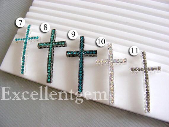 10 Rhinestones connector, bracelet connector, bracelet components, side ways bracelet connector, cross Connector --25mm x 48mm