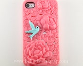 Apple iPhone 4 Case, iPhone 4s Case, iPhone 4 Hard Case, light pink flower case with pink bird