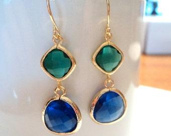 Emerald green and cobalt blue glass gold dangle earrings.  Bridal earrings. Bridesmaids earrings.  Wedding jewelry