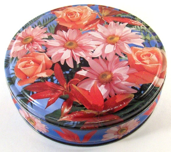 Vintage Biscuit Tin Bouquet by Huntley Boorne and Stevens England