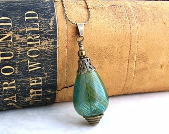 Genie in a Bottle Necklace - Hand blown glass necklace with a green bead and antique brass chain - Genie Bottle Necklace