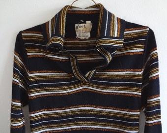 SWEATER SALE: 1970s Striped Black Metallic Sweater