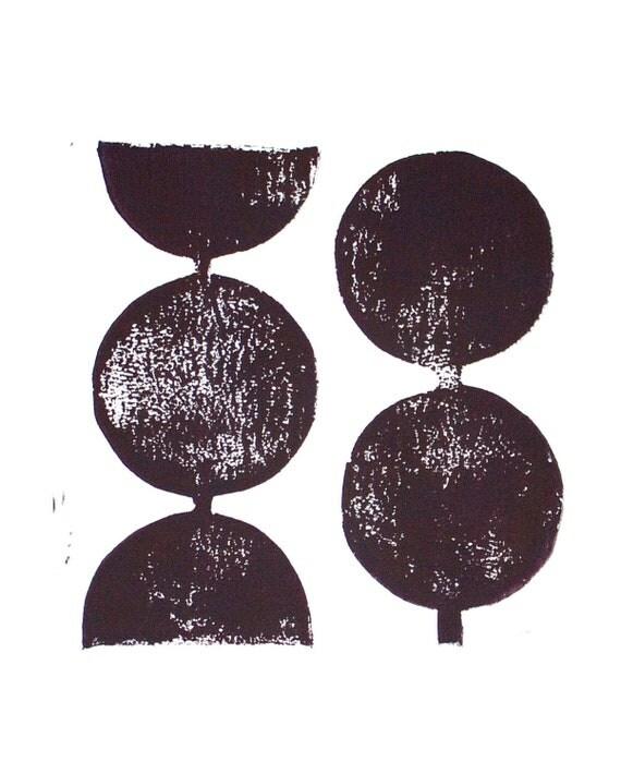 Modern Decor Geometric Circles in Eggplant Purple Linocut Art Print  8x10 Polka dot
