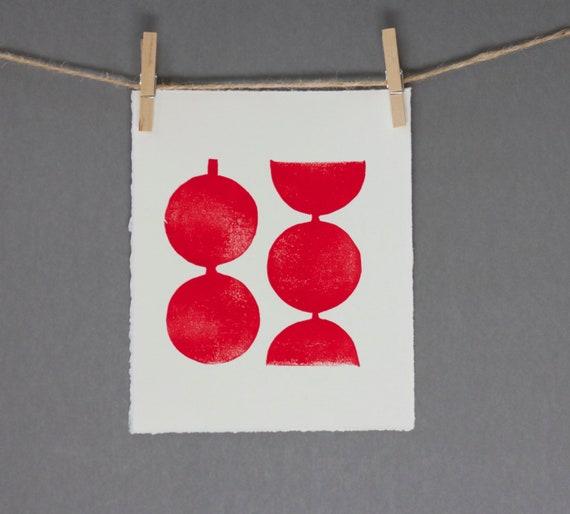 Hand pulled Relief Red Modern Linocut Geometric Circles Art Print 8 x 10 Polka dot