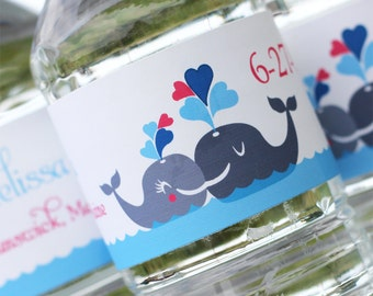 Whales in Love Water Bottle Labels