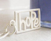hope necklace sterling silver word cut out pendant matt finish