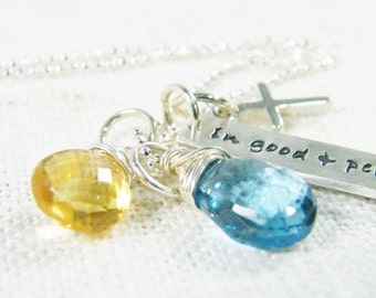 in good and perfect time sterling silver hand stamped pendant with cross golden citrine and blue topaz