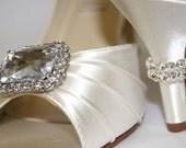 Bling Wedding Shoes - Crystals - Dyeable Wedding Shoes - Choose Your Heel Height - Choose From Over 100 Colors - Crystal Rings On Heels