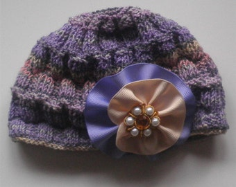 Purple Hat Stripe Beanie Cap Baby Girl Hats Ribbon Flower Caps Hand Knit Winter Hat, Babies Accessories, Baby Shower Gift, Holiday Gifts