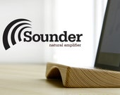 Sounder, the wooden ipad stand / ipad dock and natural amplifier that doubles the volume