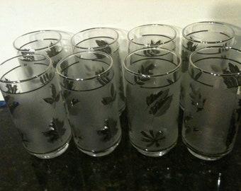 Set of 8 Vintage Frosted Glasses