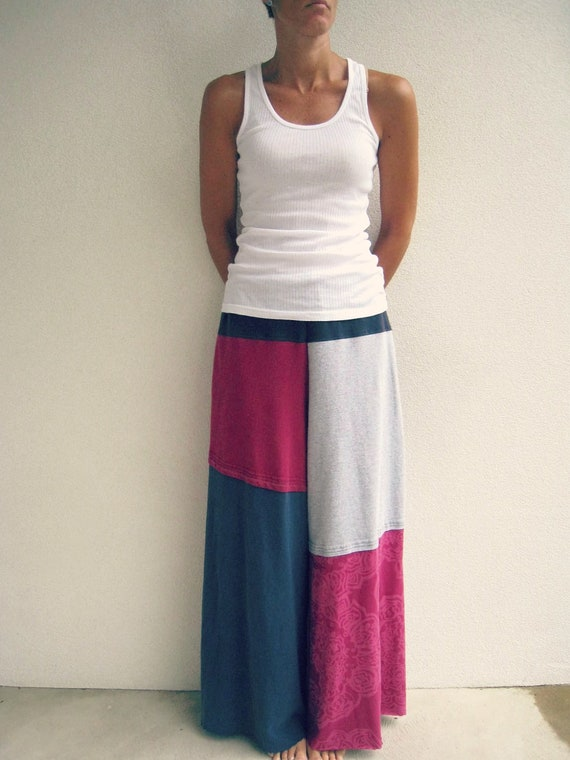Wide Leg T Shirt Pants / Palazzo Style / M / Upcycled Tees / Navy Blue Heather Gray Hot Pink / Fashion / Cotton / Soft / Fun / by ohzie