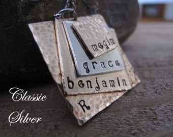 Large Family Custom 4 Squares Stacked  Name Necklace in Bronze and Silver