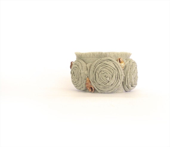 Sand Beach Fabric Cuff Bracelet, Rolled Rosettes Shabby Chic Bangle