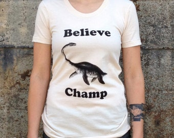 Women's Believe Champ T-shirt, American Apparel Natural Cream Ladies Tee