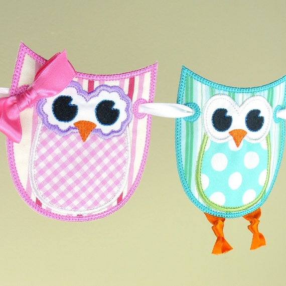 "Owl Banner ITH project Machine Embroidery Design Applique Pattern in 3 sizes 4"", 5"" and 6"" all done in-the-hoop."