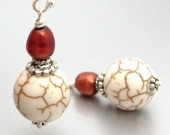 Sterling Silver Magnesite & Freshwater Pearl Drop Earrings