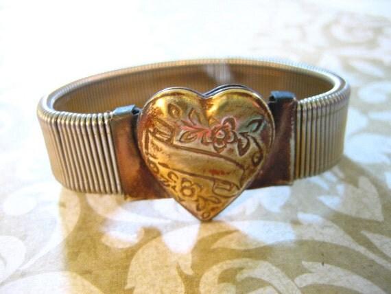 Vintage Heart LOCKET Gold Filled Sweetheart Expandable Bracelet 1950s