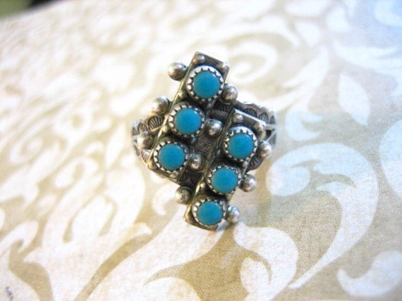 Vintage Sterling Silver Ring w 6 Petit Point Turquoise Stones