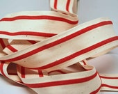 Cotton Stripe Ribbon 1.5 inch -- Natural Holiday Red -- Off White Red Cream