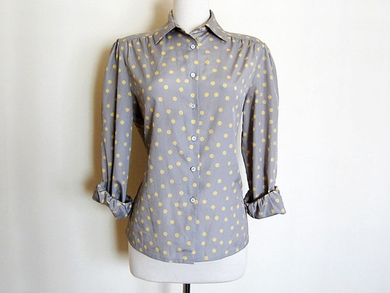 Polka Dot Pale Grey Yellow Buttondown Collared Blouse Shirt Vintage Trendy 1980s