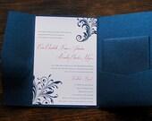 Classy Navy Pocket Wedding Invitation