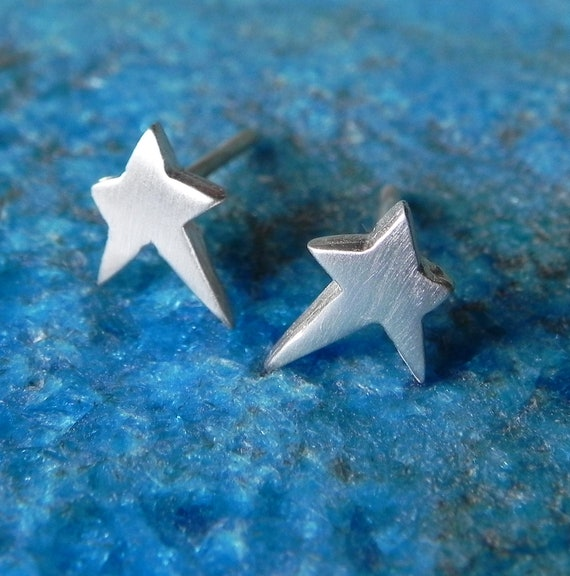 Irregular stars sterling silver stud earrings