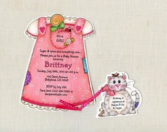Personalized - Baby - Shower - Party - Invitation - Annoucements - Baby Girl - Pink - Kitty - Handcut - Sara Jane - Set of 10